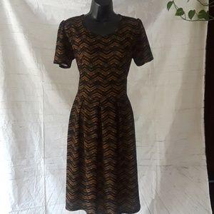 Lularoe Amelia mustard/ black pleated dress